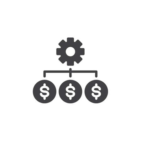 Costs optimization vector icon. filled flat sign for mobile concept and web design. Gear with dollar money simple solid icon. Business efficiency symbol, logo illustration. Pixel perfect vector