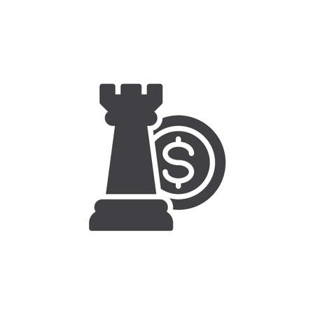 Financial strategy vector icon. filled flat sign for mobile concept and web design. Chess piece and money simple solid icon. Symbol, logo illustration. Pixel perfect vector graphics