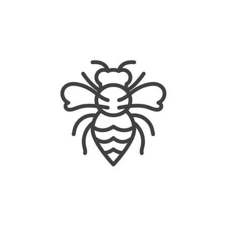 Wasp pests line icon. linear style sign for mobile concept and web design. Wasp insects outline vector icon. Bee Symbol, logo illustration. Pixel perfect vector graphics