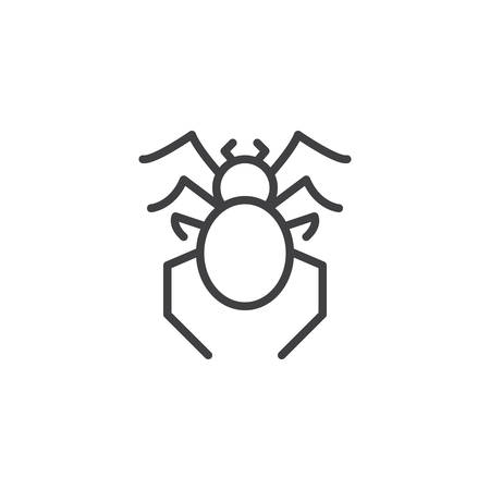Spider pests line icon. linear style sign for mobile concept and web design. Spider insects outline vector icon. Bug Symbol, logo illustration. Pixel perfect vector graphics Иллюстрация