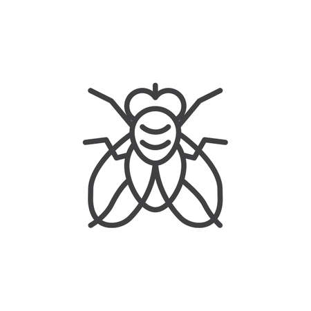 Fly pests line icon. linear style sign for mobile concept and web design. Fly insects outline vector icon. Symbol, logo illustration. Pixel perfect vector graphics