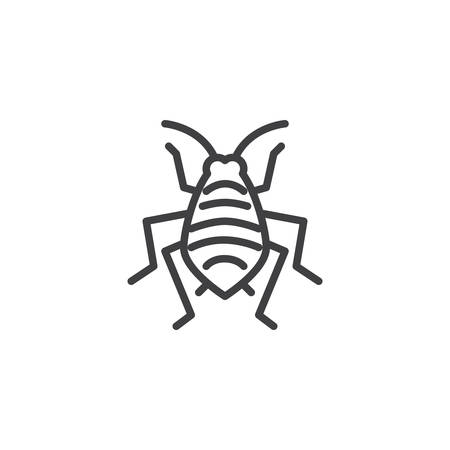 Aphid woodlouse pests line icon. linear style sign for mobile concept and web design. Bedbug insects outline vector icon. Symbol, logo illustration. Pixel perfect vector graphics