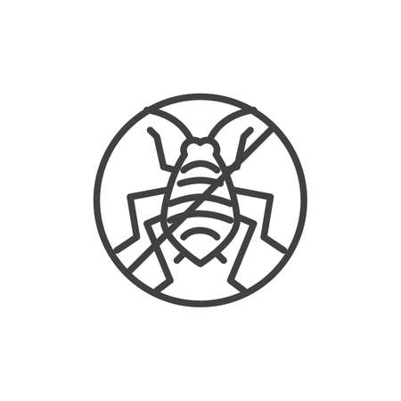 No aphid pests line icon. linear style sign for mobile concept and web design. Stop aphid insects outline vector icon. Symbol, logo illustration. Pixel perfect vector graphics