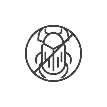 No beetle pests line icon. linear style sign for mobile concept and web design. Stop bug insects outline vector icon. Symbol, logo illustration. Pixel perfect vector graphics