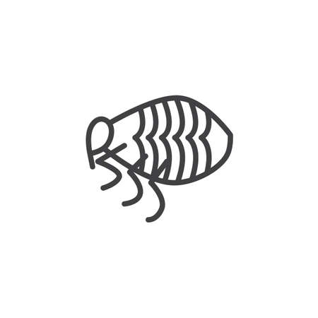 Flea pests line icon. linear style sign for mobile concept and web design. Flea insects outline vector icon. Symbol, logo illustration. Pixel perfect vector graphics Logo