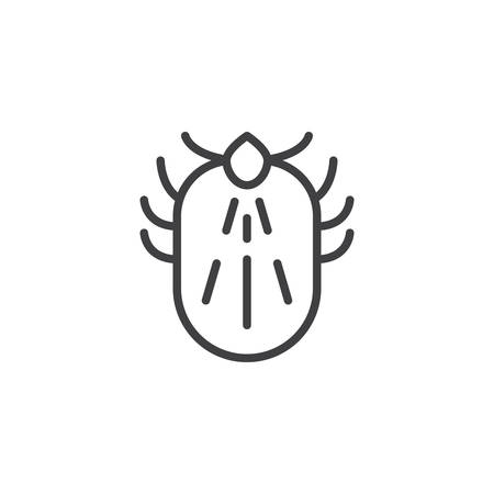 Mite pests line icon. linear style sign for mobile concept and web design. Mite insects outline vector icon. Symbol, logo illustration. Pixel perfect vector graphics