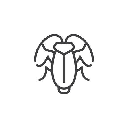 Cockroach pests line icon. linear style sign for mobile concept and web design. Cockroach insects outline vector icon. Symbol, logo illustration. Pixel perfect vector graphics