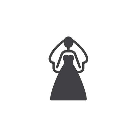 Bride in a wedding dress vector icon. filled flat sign for mobile concept and web design. Bride garment simple solid icon. Symbol, logo illustration. Pixel perfect vector graphics Stock Illustratie
