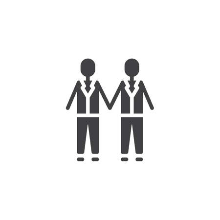 Gay wedding couples holding hands vector icon. filled flat sign for mobile concept and web design. Married men couple simple solid icon. Symbol, logo illustration. Pixel perfect vector graphics