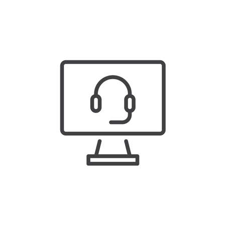 Online Support Call Screen line icon. linear style sign for mobile concept and web design. Computer monitor with headphones outline vector icon. Symbol logo illustration. Pixel perfect vector graphics