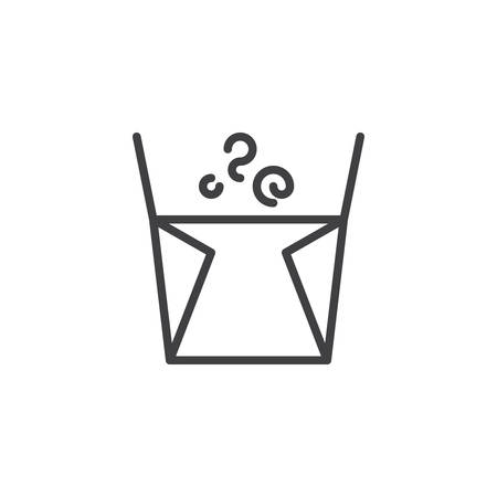 Noodles box line icon. linear style sign for mobile concept and web design. Chinese fast food delivery outline vector icon. Symbol, logo illustration. Pixel perfect vector graphics Illustration