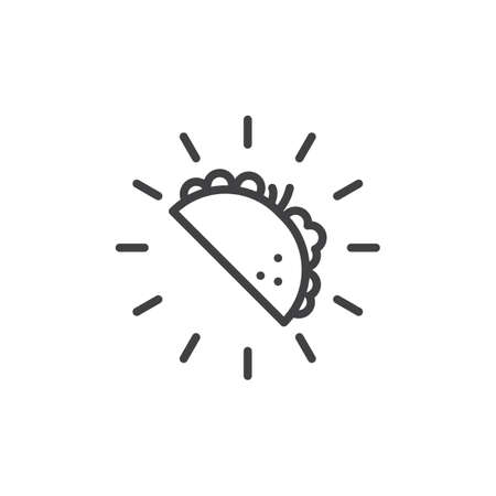 Taco mexican food line icon. linear style sign for mobile concept and web design. Taco fast food outline vector icon. Symbol, logo illustration. Pixel perfect vector graphics