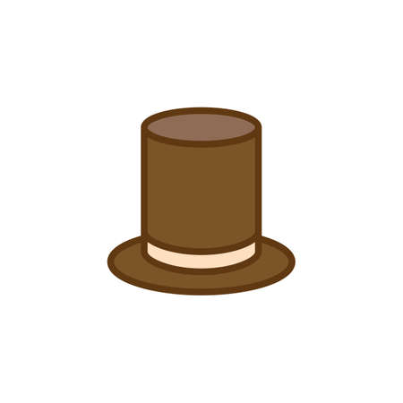 Gentleman cylinder hat flat icon, vector sign, colorful pictogram isolated on white. Top hat symbol, logo illustration. Flat style design