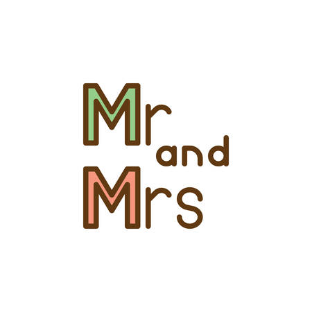 Mr Mrs wedding written lettering flat icon, vector sign, colorful pictogram isolated on white. mr and mrs lettering symbol, logo illustration. Flat style design