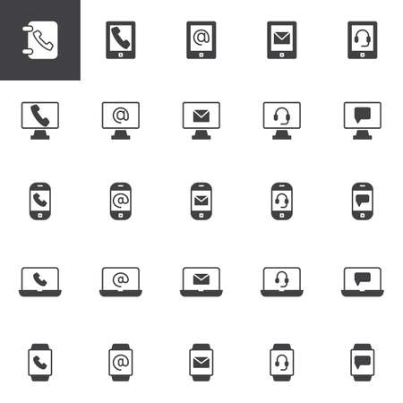 Contact and communication vector icons set, modern solid symbol collection, filled style pictogram pack. Signs, logo illustration. Set includes icons as Laptop email, Computer monitor, Smartphone call