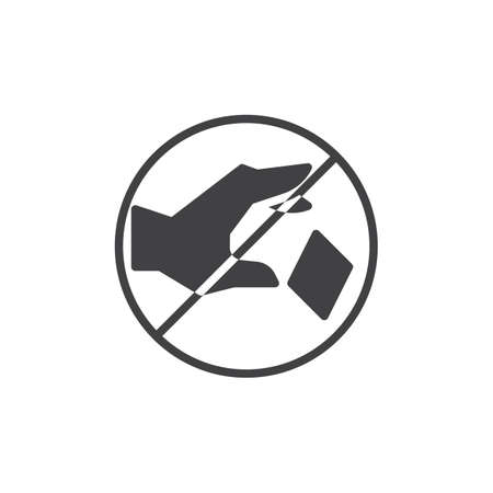 Do not litter prohibition sign vector icon. filled flat sign for mobile concept and web design. Do not throw trash simple solid icon. Symbol, logo illustration. Pixel perfect vector graphics