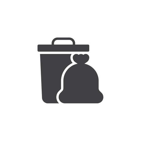 Garbage trash bin and bag vector icon. filled flat sign for mobile concept and web design. Garbage bag and waste simple solid icon. Symbol, logo illustration. Pixel perfect vector graphics