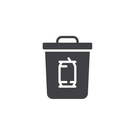 Metal can waste vector icon. filled flat sign for mobile concept and web design. Tin can trash bin simple solid icon. Garbage symbol, logo illustration. Pixel perfect vector graphics  イラスト・ベクター素材