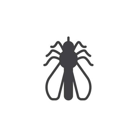 Mosquito pests vector icon. filled flat sign for mobile concept and web design. Mosquito insects simple solid icon. Symbol, logo illustration. Pixel perfect vector graphics Illustration