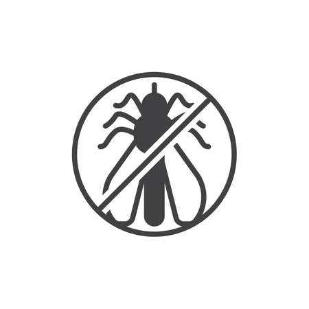 No mosquito pests vector icon. filled flat sign for mobile concept and web design. Stop mosquito insects simple solid icon. Symbol, logo illustration. Pixel perfect vector graphics