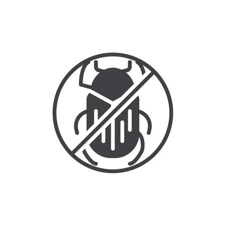 No beetle pests vector icon. filled flat sign for mobile concept and web design. Stop bug insects simple solid icon. Symbol, logo illustration. Pixel perfect vector graphics