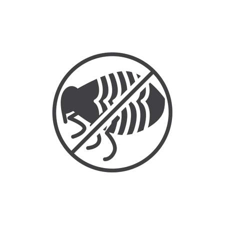 No flea pests vector icon. filled flat sign for mobile concept and web design. Stop flea insects insects simple solid icon. Symbol, logo illustration. Pixel perfect vector graphics Illustration