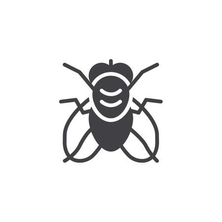 Fly pests vector icon. filled flat sign for mobile concept and web design. Fly insects simple solid icon. Symbol, logo illustration. Pixel perfect vector graphics