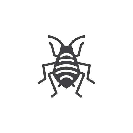 Aphid woodlouse pests vector icon. filled flat sign for mobile concept and web design. Bedbug insects simple solid icon. Symbol, logo illustration. Pixel perfect vector graphics Vectores