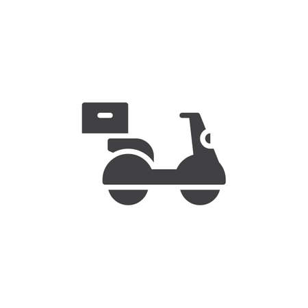 Food Delivery scooter vector icon. filled flat sign for mobile concept and web design. Scooter with parcel box simple solid icon. Symbol, logo illustration. Pixel perfect vector graphics Ilustração