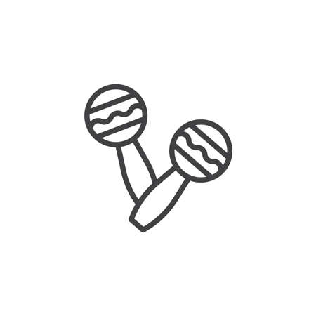 Maracas musical instrument line icon. linear style sign for mobile concept and web design. Percussion maracas outline vector icon. Brazilian carnival, masquerade, party symbol, logo illustration