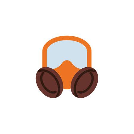 Respirator mask flat icon, vector sign, colorful pictogram isolated on white. Gas mask symbol, logo illustration. Flat style design