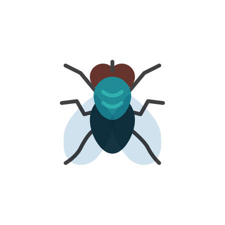Fly insect flat icon, vector sign, colorful pictogram isolated on white. Fly pest symbol, logo illustration. Flat style design