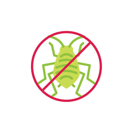 Stop aphid insect flat icon, vector sign, colorful pictogram isolated on white. No aphid pest symbol, logo illustration. Flat style design Illustration