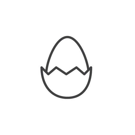 Easter egg line icon. linear style sign for mobile concept and web design. Egg with cracked egg shell outline vector icon. Symbol, logo illustration. Pixel perfect vector graphics