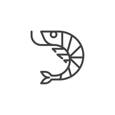 Shrimp seafood line icon. linear style sign for mobile concept and web design. Prawns sea food outline vector icon. Symbol, logo illustration. Pixel perfect vector graphics