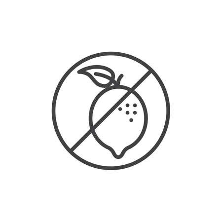 No allergen food line icon. linear style sign for mobile concept and web design. Lemon, citrus fruit prohibition outline vector icon. Symbol, logo illustration. Pixel perfect vector graphics