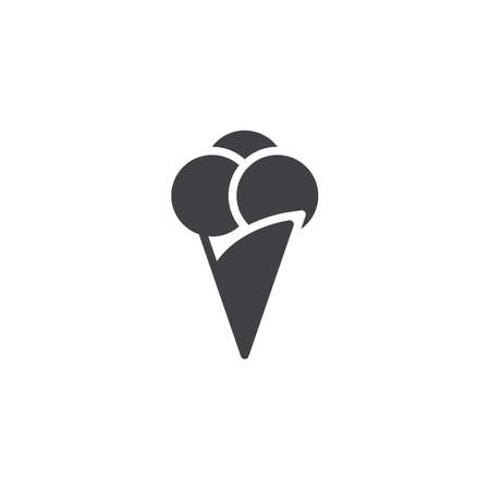 Ice Cream vector icon. filled flat sign for mobile concept and web design. Cone ice cream simple solid icon. Symbol, logo illustration. Pixel perfect vector graphics Ilustração