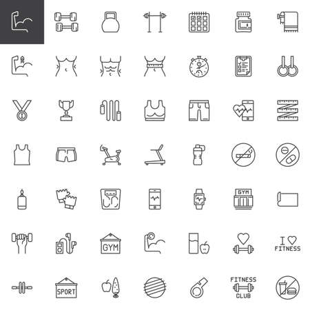 Fitness gym equipment line icons set. linear style symbols collection, outline signs pack. vector graphics. Set includes icons as Muscle, Dumbbell, Kettlebell, Barbell, Punching ball, Gymnastic roller Illustration
