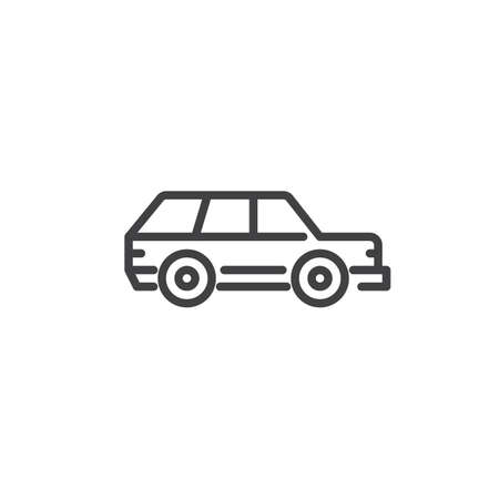 Station wagon car line icon. Linear style sign for mobile concept and web design. Family car outline vector icon. Symbol, logo illustration. Pixel perfect vector graphics Vectores