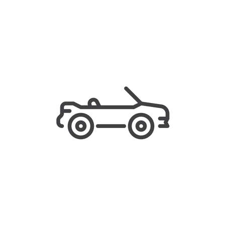 Cabriolet car line icon. Linear style sign for mobile concept and web design. Convertible car outline vector icon. Symbol, logo illustration. Pixel perfect vector graphics