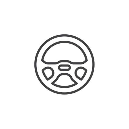 Steering wheel line icon. Linear style sign for mobile concept and web design. Sport car steering wheel outline vector icon. Symbol, logo illustration. Pixel perfect vector graphics  イラスト・ベクター素材