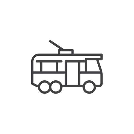 Trolleybus side view line icon. Linear style sign for mobile concept and web design. Electric trolleybus outline vector icon. Symbol, logo illustration. Pixel perfect vector graphics