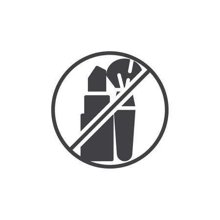 No cosmetics, prohibition sign vector icon. filled flat sign for mobile concept and web design. Stop cosmetics, ban simple glyph icon. Symbol, logo illustration. Pixel perfect vector graphics Illustration