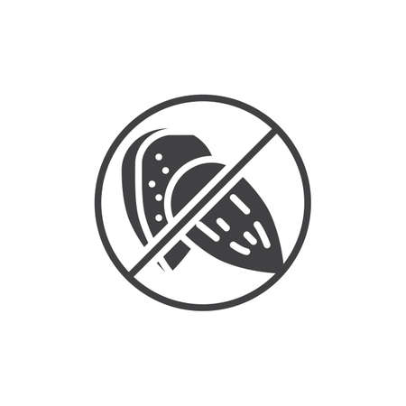 No almond, prohibition vector icon. filled flat sign for mobile concept and web design. Almond free food simple glyph icon. Symbol, logo illustration. Pixel perfect vector graphics Vettoriali