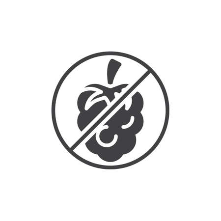 No Raspberry, prohibition sign vector icon. filled flat sign for mobile concept and web design. No allergen food simple glyph icon. Symbol, logo illustration. Pixel perfect vector graphics Illustration