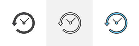 Time back icon. Line, glyph and filled outline colorful version, Clock with arrow around outline and filled vector sign. Symbol, logo illustration. Different style icons set. Pixel perfect vector