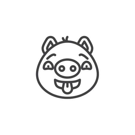 Flirting piggy face emoji line icon. linear style sign for mobile concept and web design. Teasing piggy face emoticon showing tongue outline vector icon. Pig year zodiac symbol, logo illustration.