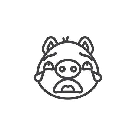 Crying piggy face emoticon line icon. linear style sign for mobile concept and web design. Weeping face emoji outline vector icon. Pig year zodiac symbol, logo illustration. Pixel perfect vector