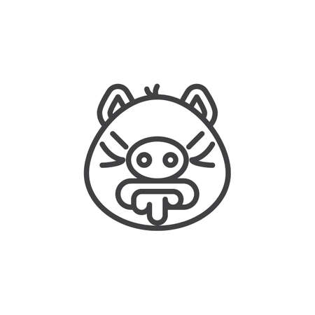 Vomiting emoji piggy face line icon. linear style sign for mobile concept and web design. Nauseous piggy face emoticon outline vector icon. Pig year zodiac symbol, logo illustration. Pixel perfect