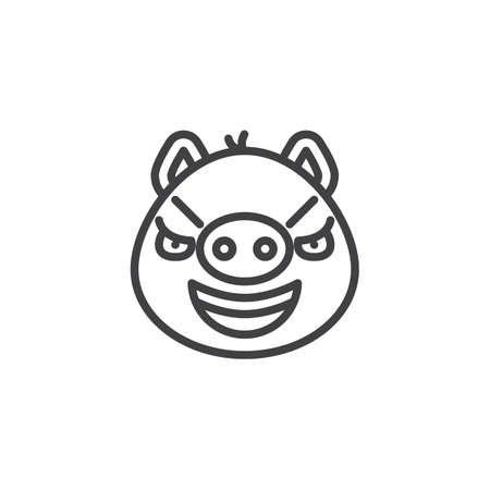 Sarcastic piggy face emoji line icon. linear style sign for mobile concept and web design. Mocked face emoticon outline vector icon. Pig year zodiac symbol, logo illustration. Pixel perfect vector